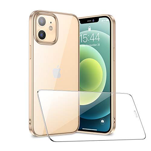 SmartDevil Liquid Crystal Kompatibel mit iPhone 12/ iPhone 12 Pro Hülle + panzerglas, Transparent TPU Silikon Handyhülle Durchsichtige Schutzhülle Hülle für iPhone 12/ iPhone 12 Pro - Gold