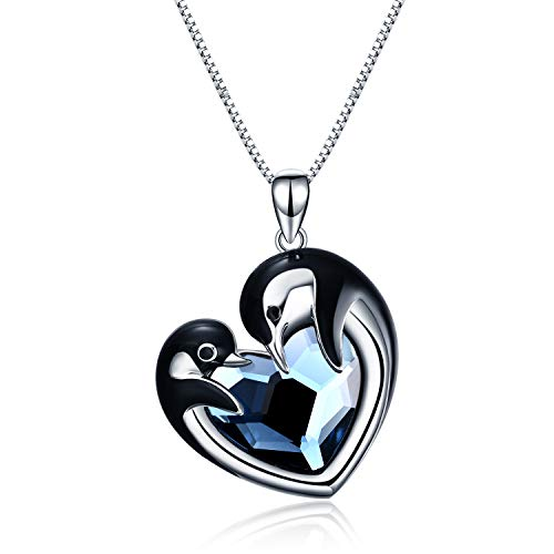 WINNICACA Penguin Gifts Sterling Silver Penguin Pecklace for Women Blue Crystal Penguin Jewelry Cute Necklaces for Girls Daughter