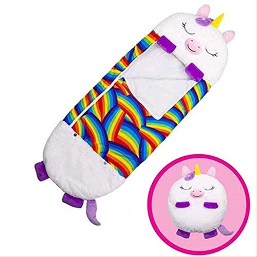 Happy Nappers Kids Animal Play Almohada y Saco de Dormir Cómodo y Divertido Saco de Dormir Plegable Suave Saco de Dormir Animal para Niños Surprise-Red_Unicorn