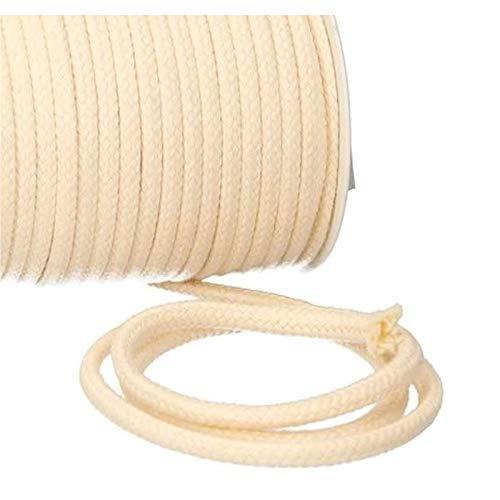Turnbeutelliebe® Kordel 100% Baumwolle 8mm breit, dick - für Turnbeutel, Taschen & Hosen - zum nähen - viele Farben und Längen - geflochten - Schnur - Seil - Bastelschnur - Band (Natur, 5)