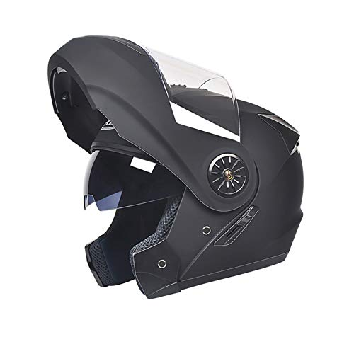 LMM Visor antivaho Casco Bluetooth para Moto abatible,Auricular de Dos Altavoces para Motocicleta,Casco Integral Sonido estéreo Bluetooth Integrado Casco Bluetooth de Cuatro Estaciones con (Negro)