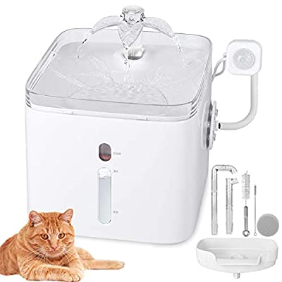 SUNJOYCO Upgraded Cat Small Dog Water Fountain 84oz/2.5L 3 Outlet Mode Ultra Quiet Automatic Pet Healthy Drinking Water Dispenser with Removable Washable Pump, Charcoal Filter, and Cleaning Tools