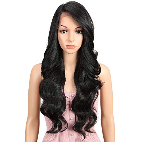 "Price comparison product image JOEDIR 26"" Big Curly Wavy Supreme Free Parting HD Lace Frontal Wigs With Baby Hair High Temperature Synthetic Wigs For Black Women 180% Density Natural Black Color Wigs 230g(1B)"