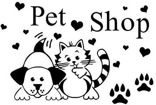 Adhesivo de vinilo extraíble para pared, tienda de mascotas, huellas de pata de gato y perro, habitación infantil divertida 59X39Cm