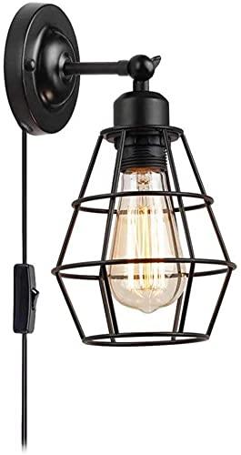 Aplique de pared Luz industrial Lámpara de pared con jaula de metal negro Lámpara de cama con interruptor y enchufe, cable de 1,7 m, enchufe E27, dormitorio ajustable, oficina, sala de estar,...