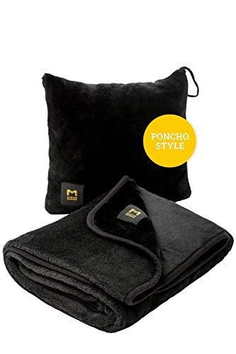 """Extra Soft Poncho Travel Blanket – Packable Airplane Blanket for Adults – Compact Portable Small 11.8x11.8'' & Large Lightweight Size 60x39"""" – Warm & Cozy in Planes, Cars or Camping - Great GlFT"""