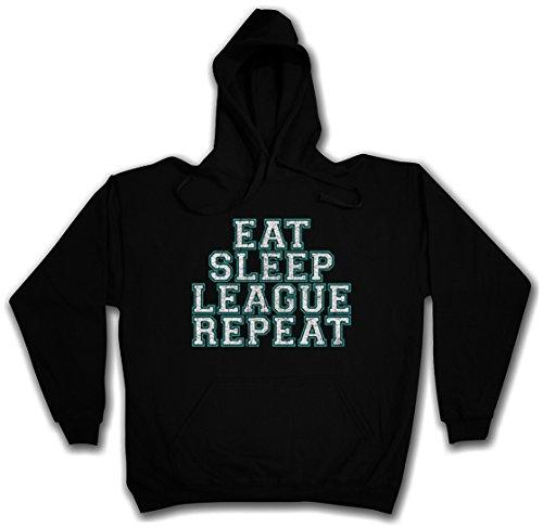 Urban Backwoods Eat Sleep League Repeat Hoodie Kapuzenpullover Sweatshirt Schwarz Größe 2XL