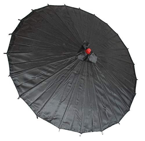 AAF Nommel ® Sonnenschirm Dekoschirm aus Kunstfaser schwarz, wasserfest mit Bambus Holz Stiel Nr. 007