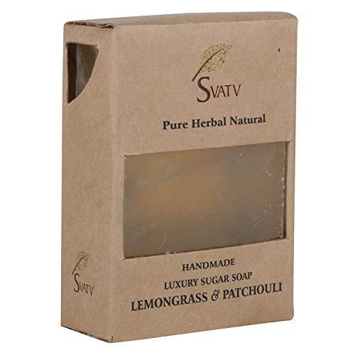 SVATV handgemachte Luxus Zucker Seife Lemongrass & Patchouli für alle Hauttypen 100g Bar