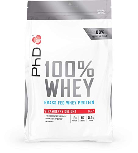 PhD Nutrition 100% Whey, Grass fed whey protein, Strawberry Delight, 1 kg