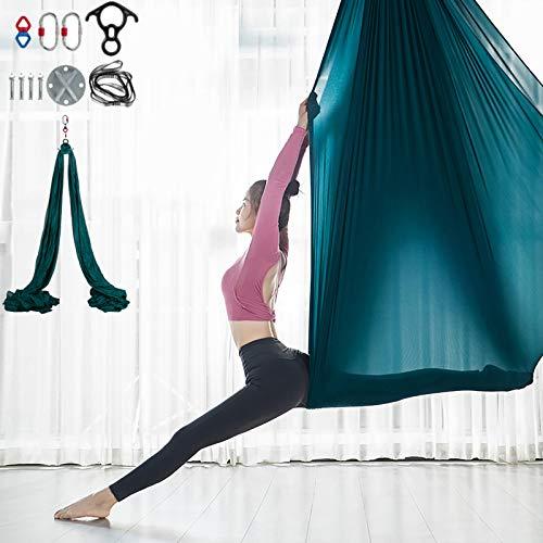 VEVOR Columpio de Yoga 10x2,8M Hamaca de Yoga/Yoga Aéreo, Columpio de Yoga Aéreo, Swing Sling Inversión, para Pilates Aerial Yoga (Verde)