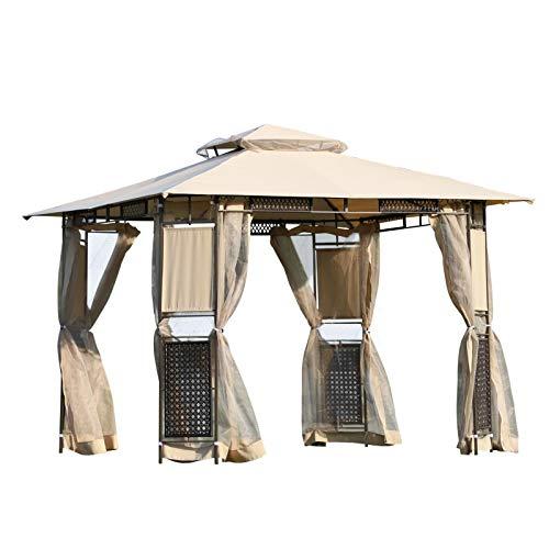 Outsunny Pavillon Gartenpavillon Gartenzelt Doppeldach mit Seitenwänden Moskitonetz Sonnenschutz Polyester + Stahl Beige + Braun 3 x 3 x 2,6 m