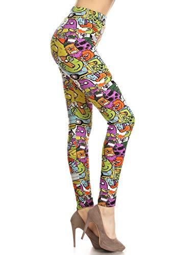 R889W-EXTRAPLUS City Monsters Print Fashion Leggings