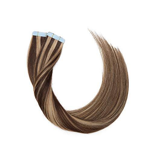 """Doczepiane włosy na taśmie z prawdziwych włosów, przedłużanie włosów, taśma klejąca, 100% ludzkie włosy Remy, 20 sztuk + 10 sztuk darmowych taśm), średni brąz/blond miodowy #4p27 14"""" (35 cm) - 20 sztuk"""