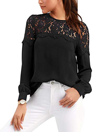 VONDA Oberteile Damen Sexy Langarmshirt Mit Spitze Bluse Elegant Bestickt Tops Rundhals Tunika A-Schwarz M