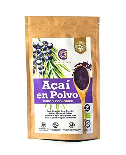 Açaí Puro en Polvo, Pure Açaí Berry Powder, Bayas de Acai en Polvo. Hecho 100% de la Pulpa de Açaí, Superalimento de Cultivo Nativo de la Amazonia (500g)