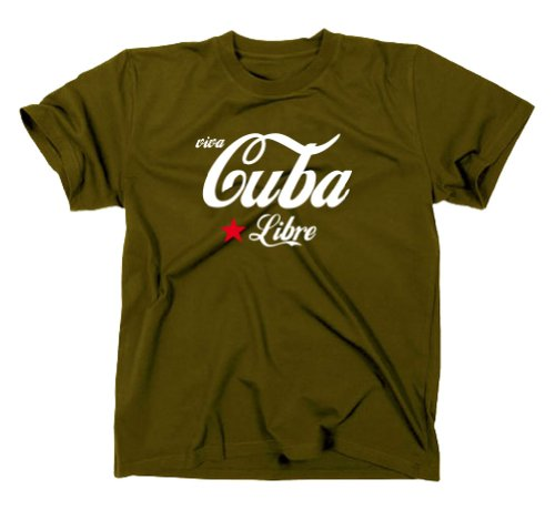 Viva Cuba Kuba Libre T-Shirt Fidel Castro Revolution, Oliv XL