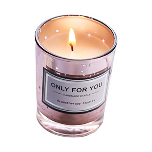 YAMAXUN Real Petal Essential Oil Natural Soy Wax Aromatherapy Candle Galvanized glass candle holder without cover scented candle star powder (without cover) [energy classe A+++]