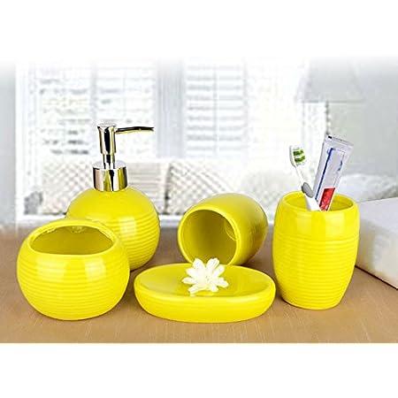 Amazon Com Durable Bathroom Accessories Set 5pcs Soap Dispenser Toothbrush Holder Yellow Home Kitchen