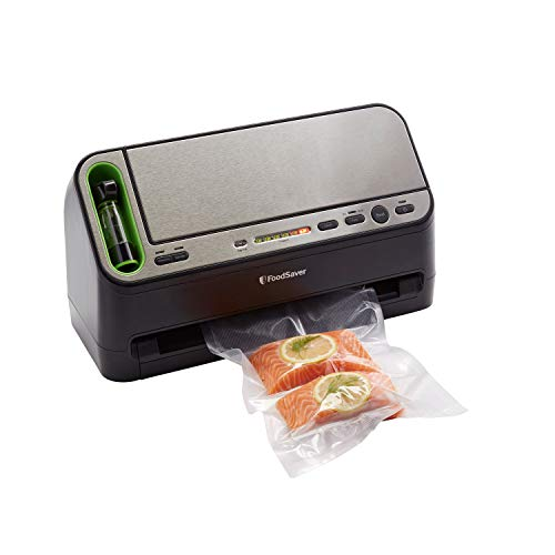 FoodSaver V4440 2-in-1 Vacuum Sealer Machine with Automatic Bag Detection and Starter Kit   Safety Certified   Black & Silver