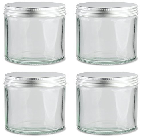 Avalon Clear Glass Jar with Silver Aluminium Lid 250ml ~ Pack of 4 ~ Refillable, Reusable, Perfect for Dry Food Storage, Candle Making, Preservation, Retro Sweets, and More