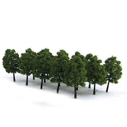 WINOMO 20ST Modell Bäume Miniatur Landschaft Landschaft Zug Eisenbahn Bäume Maßstab 1:100 dunkelgrün