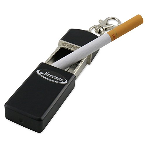 Newness Portable Ashtray, Modern Portable Ashtray, Cigarette Ashtray for Outdoor Use, Ash Holder for Smokers, Pocket Smoking Ash Tray with Lid, Key Chain for Easily Bringing When Travelling, Black