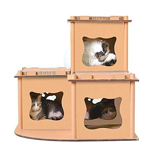 ベストアンサー キャットハウス 大型 ダンボール キャットタワー 猫タワー 猫用爪とぎ 猫ハウス ステップ キャットハウス キャットタワー ダンボールハウス 爪とぎ ベッド 猫箱 猫ベッド 猫爪とぎボックス おもちゃ ネコファー 二層 組み立て式 段ボール