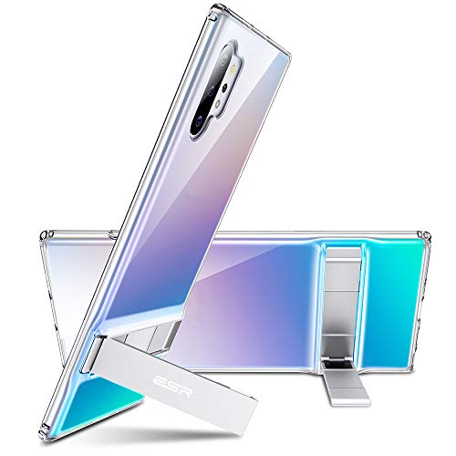 ESR Coque pour Samsung Galaxy Note 10 Plus Transparente, Coque Silicone avec Support Béquille Métal Multi-Angles, Protection Double Couche Multi-Fonctionnel pour Note10+ (Série Elite, Transparent)