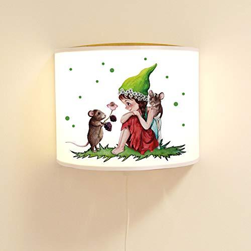 ilka parey wandtattoo-welt Kinderlampe Wandlampe Elfe Fee & Mäuse Elfenlampe Lampe Wichtel Motivlampe Mädchen ls100 - ausgewählte Farbe Lampe: *holzfarben*