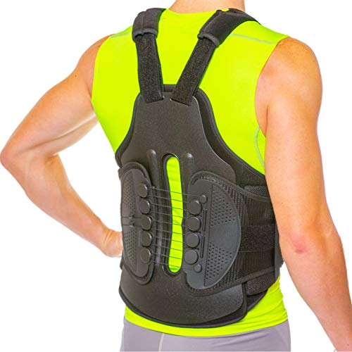 TLSO Thoracic Full Back Brace - Treat Kyphosis, Osteoporosis, Compression Fractures, Upper Spine Injuries, and Pre or Post Surgery with This Hard Lumbar Support for Men and Women (Small)