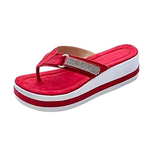 Chanclas de plataforma cuñas sandalias de mujer color a juego Flip Flop zapatillas nuevas mujeres zapatos de moda verano toboganes zapatos de tacón casual, rojo, 6