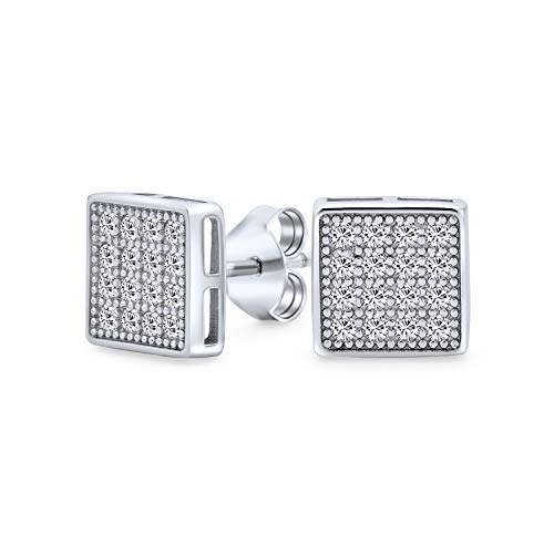 Geometric Square Cubic Zirconia Micro Pave CZ Stud Earrings For Men For Women 925 Sterling Silver 7MM