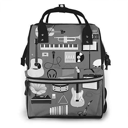 Music Things Sac à langer multifonction étanche de voyage Sac à dos à langer pour soins de bébé Grande capacité Élégant et durable