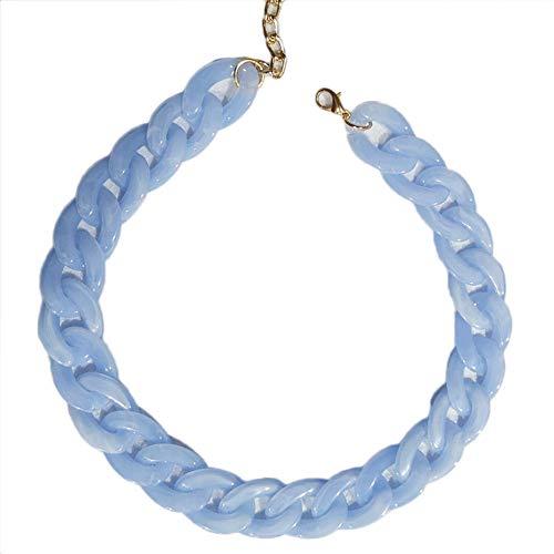 NICEWL Frauen Acryl Chain Link Chunky Statement Halskette,Handgefertigte Harz Twist Collar Choker,Fashion Party Kostüm Dekoration Schmuck,Blau