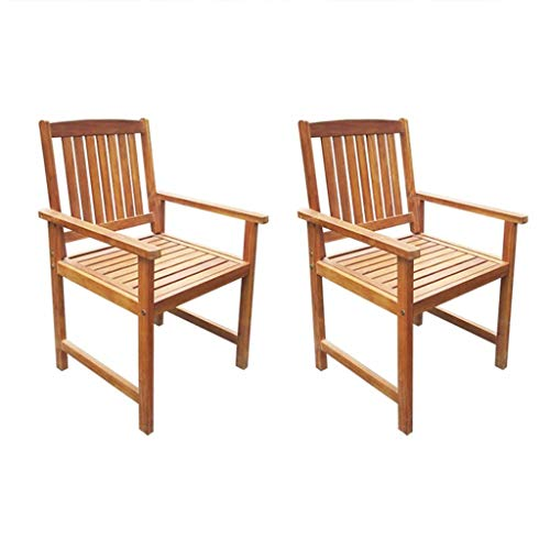 Tidyard Outdoor/Garden Dining Chairs 2 pcs Solid Acacia Wood Brown