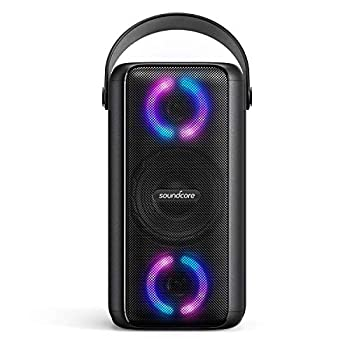 Soundcore Trance Bluetooth Speaker Outdoor Bluetooth Speaker with 18 Hour Playtime BassUp Technology Huge 101dB Sound LED Lights Soundcore App IPX7 Waterproof Wireless Speaker for Party