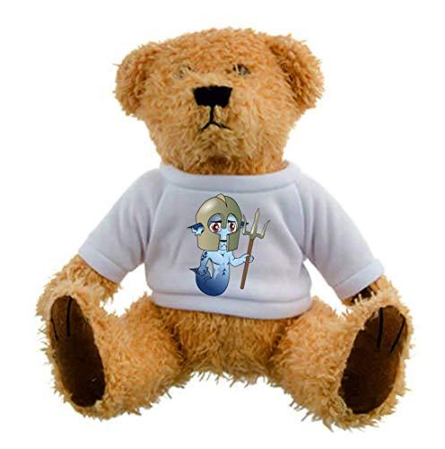 Druckerlebnis24 Teddybär - Merman Neptun Dreizack Sirene - Plüschtier Kuscheltier Teddy in Braun Weihnachten