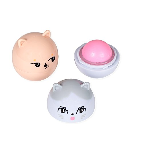 Oh K! Korean Cat and Bear Lip Balms, 2 Piece, White Peach/Cotton Candy