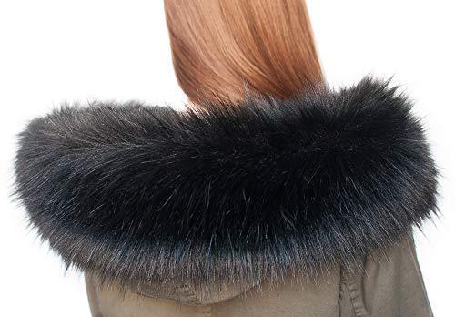 Chic Vibe sciarpa in pelliccia sintetica, con cappuccio e volpe Schwarzfuchs  75 cm