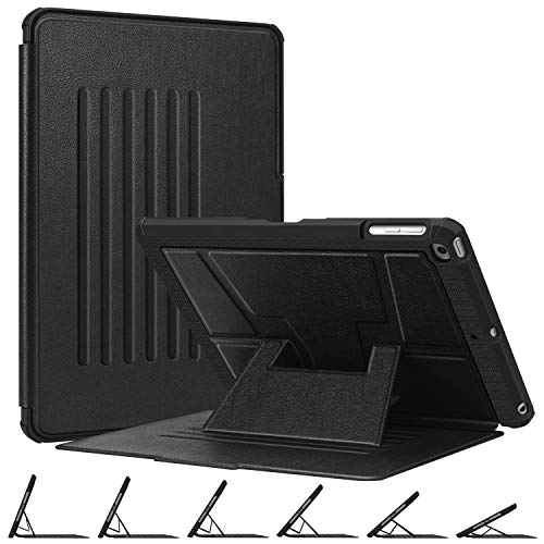 Fintie Magnetic Stand Case for iPad 6th / 5th Generation - [Multiple Secure Angles] Shockproof Rugged Soft TPU Back Cover for iPad 9.7 2018 2017 / iPad Air 2 / iPad Air, Auto Wake/Sleep, Black