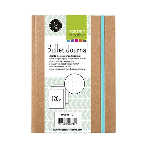 Vaessen Creative Bullet Journal, Quaderno Planner Bujo con 120 Pagine Puntinate per Diari Quotidiani, Marrone, Taglia Unica