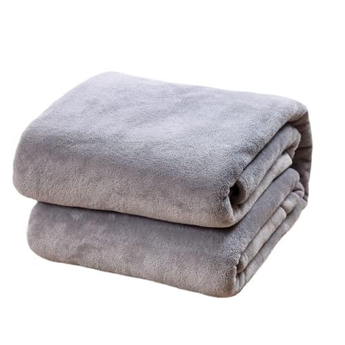QIUBD Manta para Sofás De Franela - Manta para Cama Reversible De 100% Microfibre Extra Suave,Regalo Cálido Y Confortable para Niños Y Adultos. (Grey,180 x 200 cm)