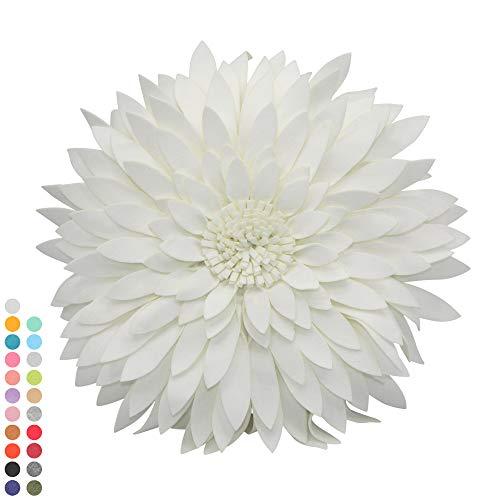 Flower Decorative Pillow - 3D Daisy Flower Pillow, Sunflower Throw Pillow -14.5 x 13 inch Round Decor Pillow - Flower Home Decorations - Couch & Bed Flower-Shaped Pillow (Case + Insert, Solid Ivory)