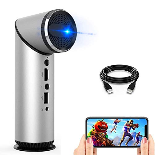GPWDSN Proyector de películas para Exteriores Bluetooth, Mini proyector de Video portátil HD 1080p Compatible con proyector LED DLP Pico, Altavoz Incorporado, Lente giratoria de 90 °, 100 lúmenes