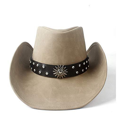 no-branded LJPEUR Unisex Mujer Hombre Western Cowboy Hat con Punk Cinta de Cuero Lady Papá Vaquera Sombrero Jazz Cap Roll Up Brim (Color : Tan, Size : 58-59)
