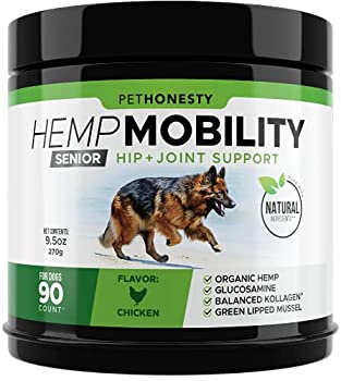 Senior Hemp Mobility - Hip & Joint Supplement for Senior Dogs - with Hemp Oil & Hemp Powder Glucosamine Collagen MSM Green Lipped Mussel Dog Treats Improve Mobility Reduces Discomfort  Chicken