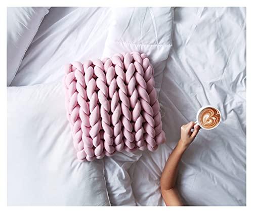 JSJJWSX Almohadas y cojines Cojín de punto con nudo de punto Cojín de hilo de núcleo suave, cojín hecho a mano, cojín decorativo para sofá (color: rosa, especificación: 40 x 40 cm)