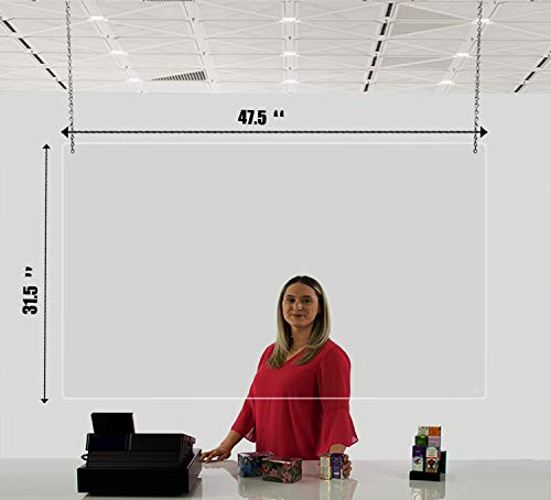 Sneeze Guard Plastic Protection Barrier Personal Protection Shield Ceiling Hanging Sneeze Guard Shield For Supermarkets Store Sheckout Counter 31.5' x 47.5'