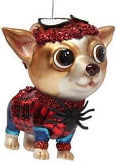 December Diamonds Blown Glass Ornament Superhero Spider Chihuahua Dog